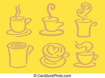minimalista, tazza caffè, caldo, vettore, disegno