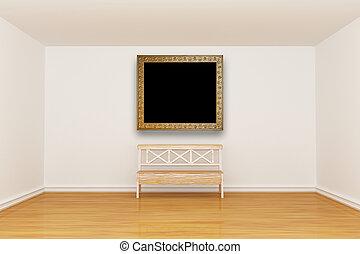minimalista, vendemmia, cornice, panca, interno, vuoto