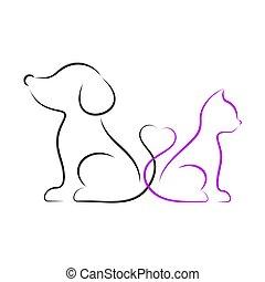 minimalista, vettore, cane, illustrazione, gatto