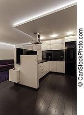 minimaliste, appartement, -, cuisine