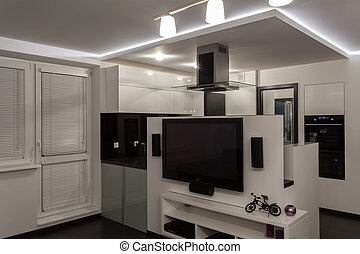petit minimaliste appartement cuisine minimaliste photographie de stock rechercher. Black Bedroom Furniture Sets. Home Design Ideas