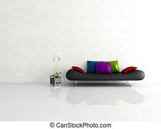 minimaliste, blanc, intérieur, à, mode, divan
