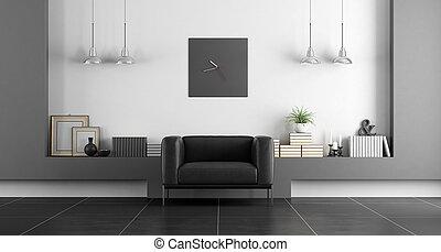 minimaliste, blanc, noir, salle, vivant