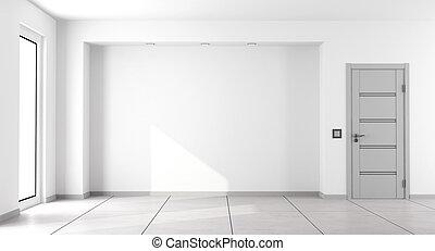 minimaliste, blanche salle, vide, vivant