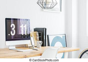 minimaliste, bureau maison, à, informatique