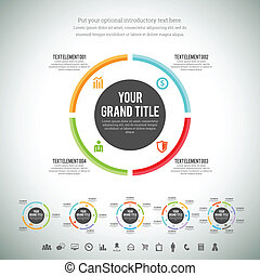minimaliste, cercle, infographic, ligne