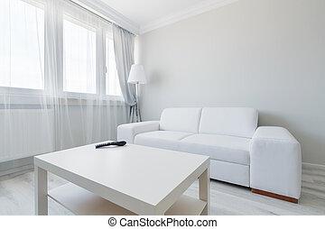minimaliste, conception, salle, vivant
