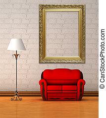 minimaliste, divan, lampe, intérieur, norme, rouges