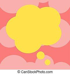 minimaliste, graphique, disposition, annonces, affaires colorent, bulle, isolé, pensée, forme, vecteur, conception, publicité, gabarit, vide, floral, parole, présentation, vide
