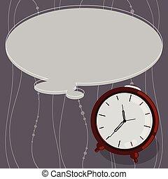 minimaliste, graphique, disposition, contour, business, horloge, couleur, reveil, isolé, pensée, vecteur, conception, publicité, gabarit, vide, bulle discours, vide