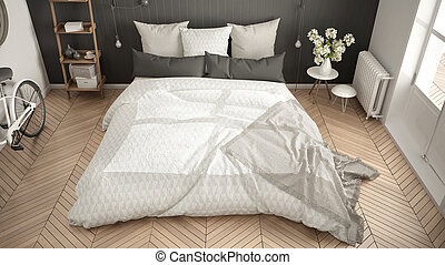 minimaliste, gris, grand, herringbone, scandinave, fenêtre, parquet, chambre à coucher, intérieur, blanc, conception, vue dessus