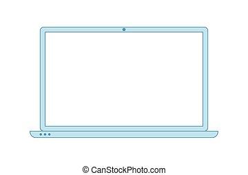 minimaliste, icon., style, ligne, laptop., ordinateur ...