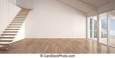 minimaliste, industriel, jardin, parquet, toiture, plancher, mezzanine, classique, métal, scandinave, espace, conception, panorama, intérieur, blanc, grenier, vide