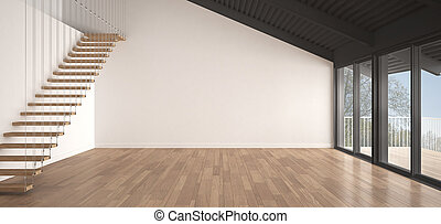 minimaliste, mezzanine, grenier, vide, industriel, espace, métal, toiture, et, parquet, scandinave, classique, blanc, conception intérieur, à, jardin, panorama