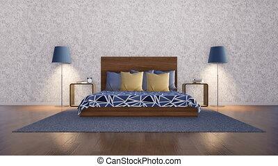 minimaliste, mur, chambre à coucher, intérieur, blanc, vide