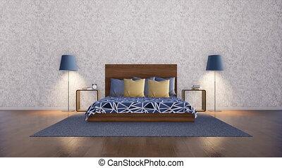 minimaliste, mur, moderne, chambre à coucher, intérieur, blanc