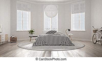 minimaliste, nordique, blanc, chambre à coucher, classique, moderne, conception intérieur
