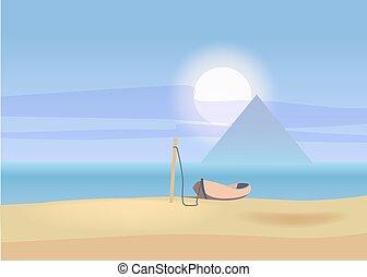 minimaliste, paysage, bateau, isolé, illustration, vecteur, soleil, mer