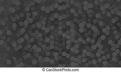 minimaliste, résumé, hexagones, arrière-plan noir, 3d