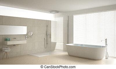 minimaliste, salle bains, à, baignoire, et, douche, parquet, et, marbre, tuiles, classique, blanc, conception intérieur