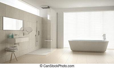 minimaliste, salle bains, classique, douche, plancher, conception, parquet, intérieur, blanc, baignoire, marbre, tuiles