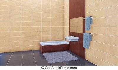 minimaliste, salle bains, moderne, intérieur, baignoire, 3d