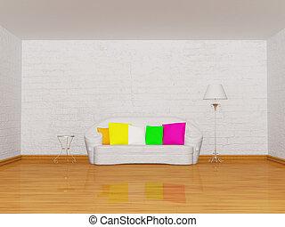 minimaliste, salle de séjour, à, blanc, divan, table, et,...