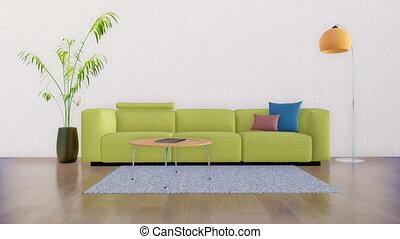 minimaliste, salle, espace, 4k, intérieur, vivant, copie