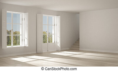 minimaliste, salle, fenetres, scandinave, conception, intérieur, vide, escalier