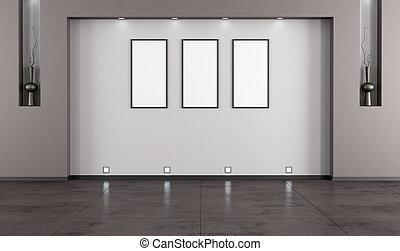 minimaliste, salle, vide, vivant