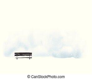 minimaliste, style, illustration, paysage, noir, snowfall., vieux, banc, vecteur, hiver
