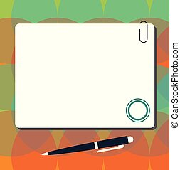 minimaliste, stylo bille, carrée, disposition, agrafe, ...
