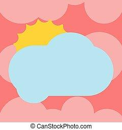 minimaliste, vide, graphique, disposition, annonces, affaires colorent, soleil, pelucheux, vide, isolé, derrière, vecteur, conception, publicité, gabarit, affiche, dissimulation, nuage, briller