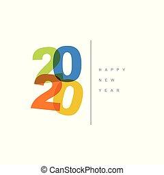 minimalistic , μοντέρνος , μικροβιοφορέας , ευτυχισμένος , 2020, κάρτα , έτος , καινούργιος