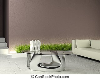 minimalistic, 내부, 와, 갈색의, 벽, 와..., 백색, 바닥
