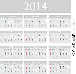 Minimalistic 2014 calendar