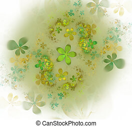 Minimalistic abstract spring flowers background. Fractal flower abstract pattern with floral elements