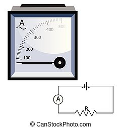 Minimalistic ammeter vector illustration on white background.