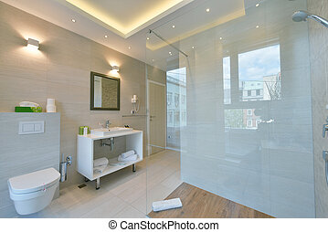 minimalistic bathrom in modern hotel