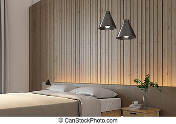 Minimalistic bedroom with bed