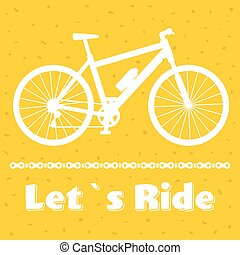 Minimalistic bike poster Let's Ride. Black mountain bicycle with a chain. Vector illustration