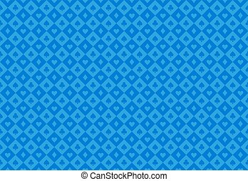 Minimalistic blue poker background with seamless texture composed from card symbols