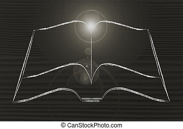 minimalistic book with light flare, symbol of education