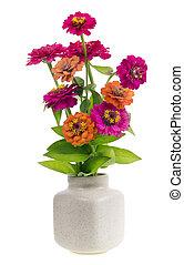 minimalistic bouquet number 4 - mini magebta orange flowers in ceramic pot vase isolated. Selective focus