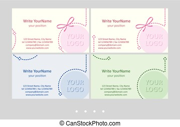Minimalistic business card vector templates. Universal light...