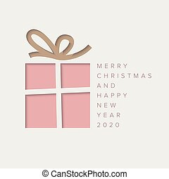 Minimalistic Christmas card with christmas present box