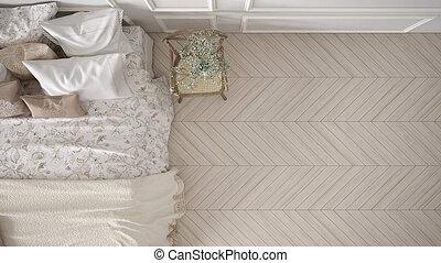 minimalistic, classique, chambre à coucher, vue dessus, blanc, conception intérieur