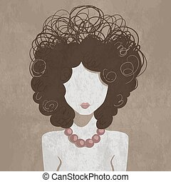 Minimalistic curly young girl portrait. Fashion vector illustration.