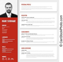 Minimalistic cv / resume template - Vector minimalist cv /...