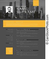 Minimalistic cv / resume template with header photo